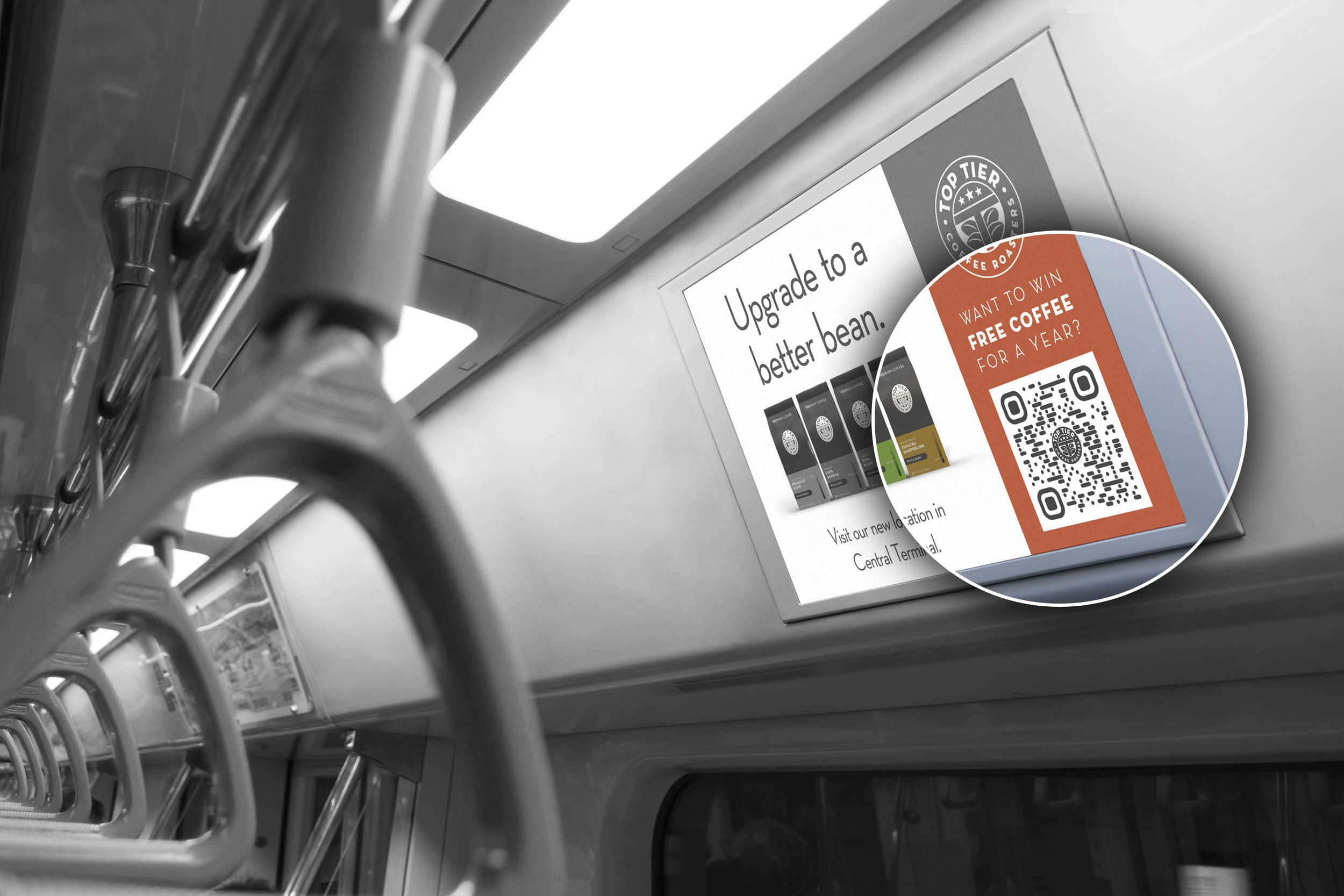 bus advertisement with qr code
